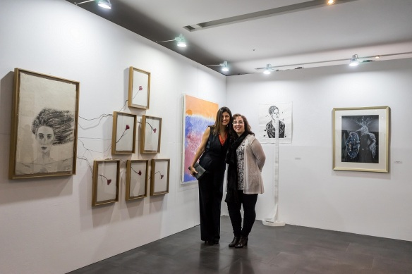 With the Curator Samdra Rodriguez in my booth. Photo by M. Kazemi.