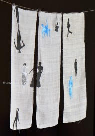 Women and Freedom, mixed media (etchings and ink drawings on hemp), 120 x 200 cm (47 x 78 in.), 2014