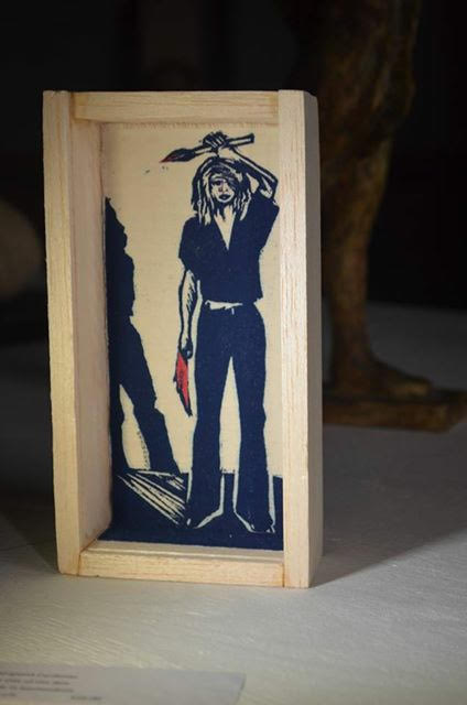 THE ARTIST IN THE BOX, woodcut, 2015 on display at Amara Hoeve Farm